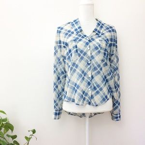 Free People Blue Sheer Plaid Button Down Blouse